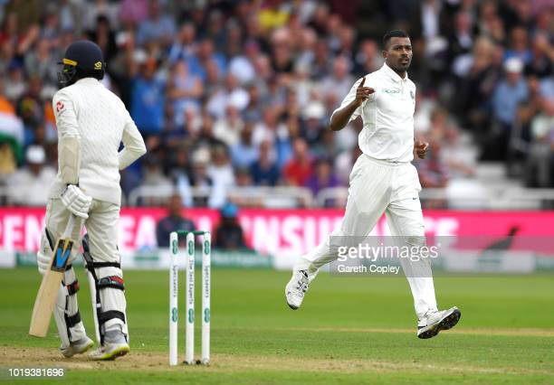 Hardik Pandya of India celebrates dismissing Adil Rashid of England during day two of the Specsavers 3rd Test match between England and India at...