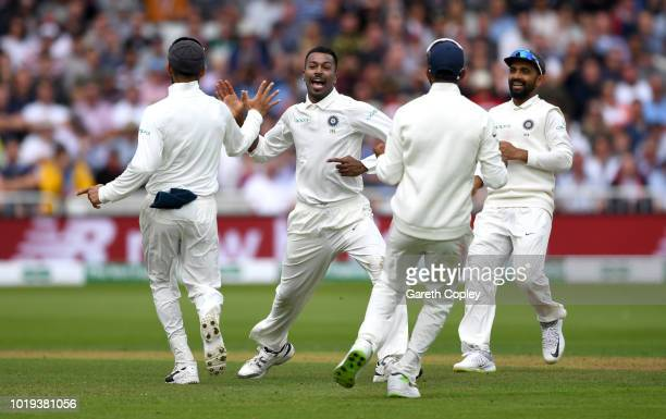 Hardik Pandya of India celebrates dismissing Chris Woakes of England during day two of the Specsavers 3rd Test match between England and India at...