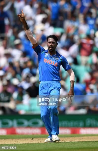 Hardik Pandya of India celebrates dismissing Fakhar Zaman of Pakistan during the ICC Champions Trophy Final between India and Pakistan at The Kia...