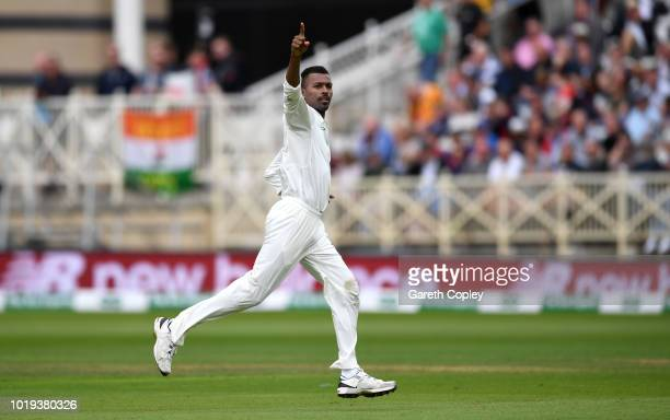 Hardik Pandya of India celebrates dismissing Jonathan Bairstow of England during day two of the Specsavers 3rd Test match between England and India...