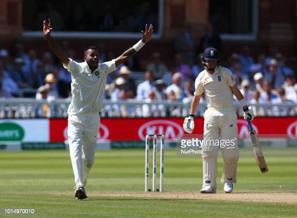 Hardik Pandya of India celebrates LBW on England's Ollie Pope making his debut during International Test Series 2nd Test 3rd day match between...
