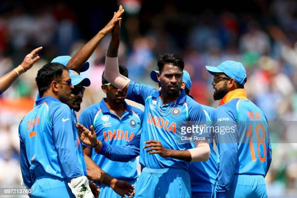 Hardik Pandya of India celebrates the wicket of Fakhar Zaman of Pakistan during the ICC Champions trophy cricket match between India and Pakistan at...