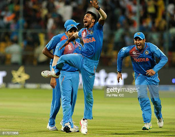 Hardik Pandya of India celebrates the win during the ICC World Twenty20 India 2016 match between India and Bangladesh at the Chinnaswamy stadium on...