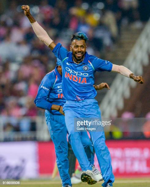 Hardik Pandya of India celebrates with after dismissing AB de Villiers of South Africa during the 4th Momentum ODI match between South Africa and...