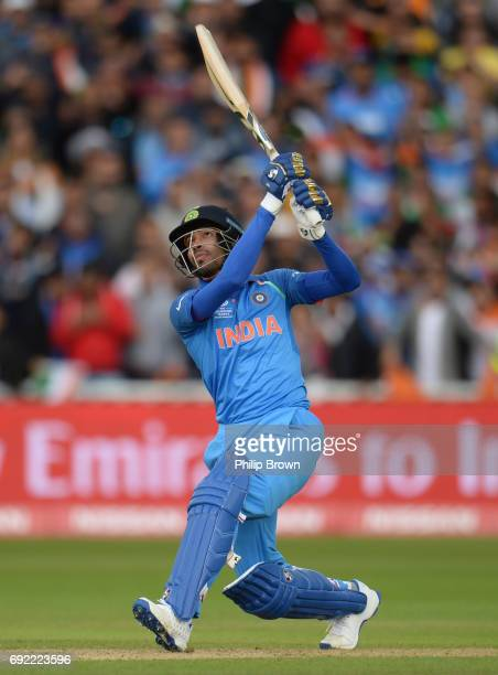 Hardik Pandya of India hits his third six during the ICC Champions Trophy match between India and Pakistan at Edgbaston cricket ground on June 4 2017...