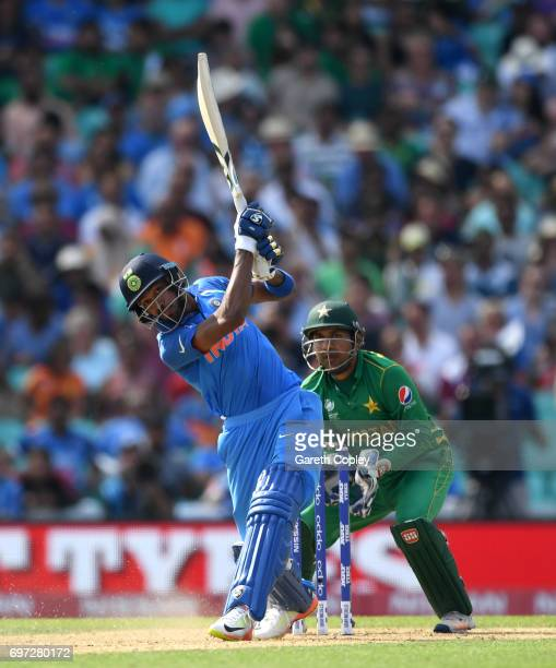 Hardik Pandya of India hits out for six runs during the ICC Champions Trophy Final between India and Pakistan at The Kia Oval on June 18 2017 in...