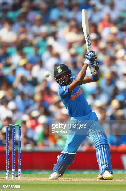 Hardik Pandya of India in action during the ICC Champions trophy cricket match between India and Pakistan at The Oval in London on June 18 2017