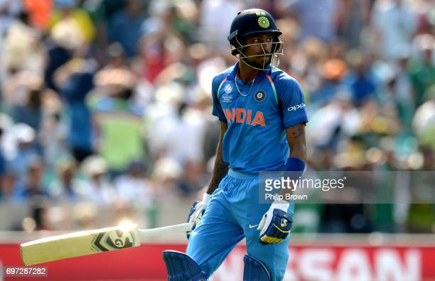 Hardik Pandya of India lafter being run out during the ICC Champions Trophy final match between India and Pakistan at the Kia Oval cricket ground on...