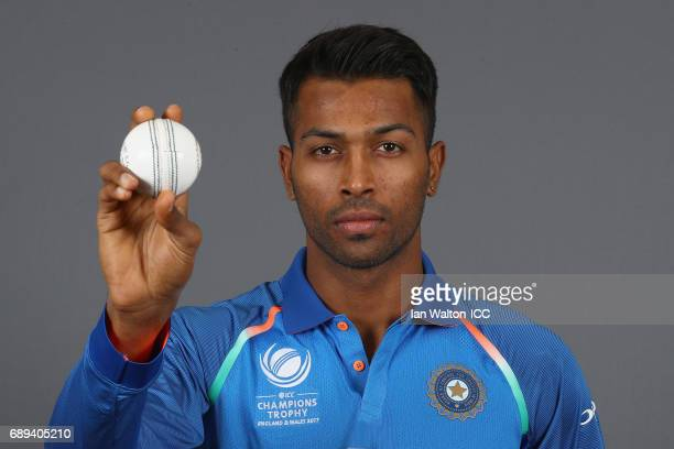 Hardik Pandya of India poses during an India Portrait Session ahead of ICC Champions Trophy at Grange City on May 27 2017 in London England