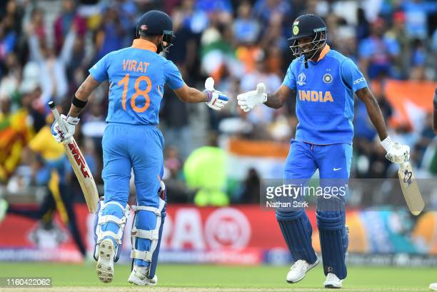 Hardik Pandya of India shakes Virat Kohli hand after they beat Sri Lanka during the Group Stage match of the ICC Cricket World Cup 2019 between Sri...