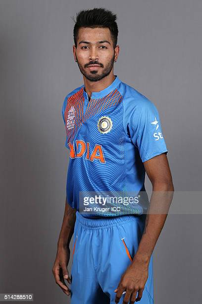 Hardik Pandya poses during the India Headshots session ahead of the ICC Twenty20 World Cup on March 8 2016 in Kolkata India