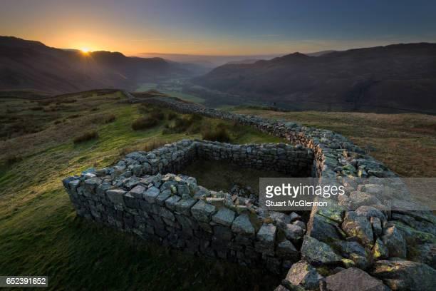 Hardknott Roman Fort - Winter Sunset