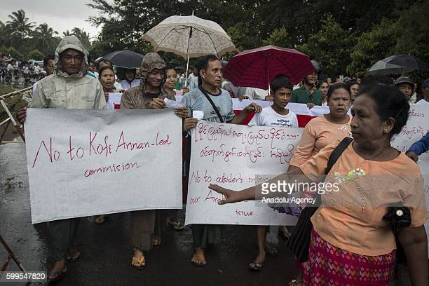Hardline ethnic nationalists protest arrival of exUN chief Kofi Annanled commission in Sittwe capital of western Rakhine State and home of Rohingya...