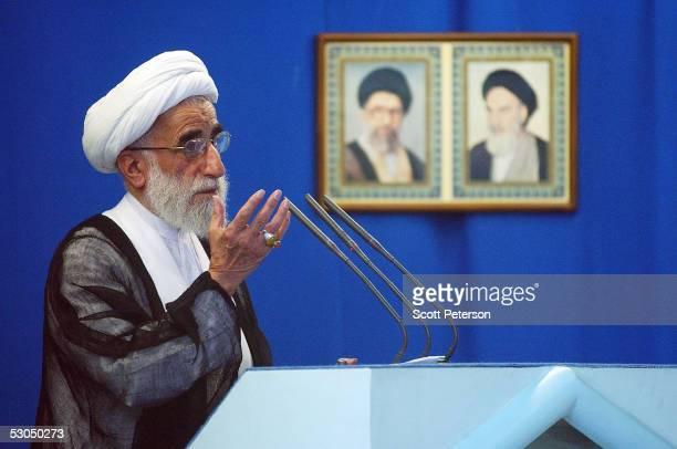 Hardline Friday prayer leader Ayatollah Ahmad Jannati preaches to Iranian believers at Tehran University June 10 2005 in Tehran Iran Under the shadow...