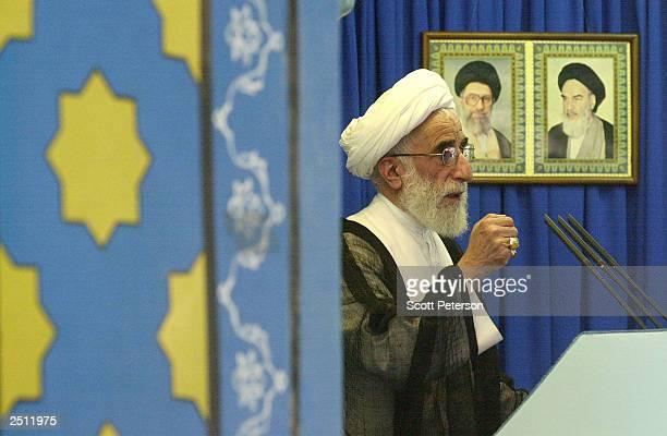 Hardliner Ayatollah Ahmad Jannati addresses Iran's Revolutionary Guards and other faithfuls at Friday prayers at Tehran University September 19 2003...