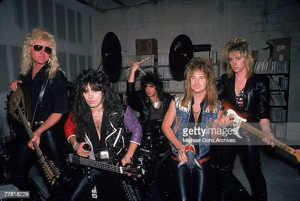 Hardrock group Great White poses for a portrait holding their instruments backstage in December 1986 in Los Angeles California Mark Kendall Tony...