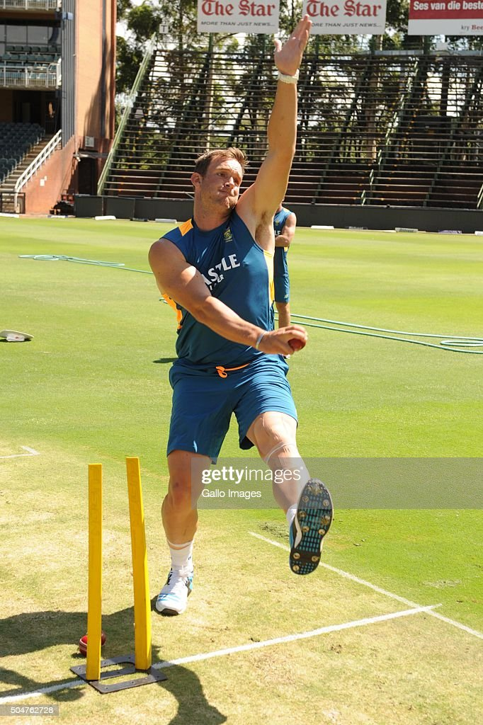 Hardus Viljoen during the South African national cricket team training session and captain' press conference at Bidvest Wanderers Stadium on January 13, 2016 in Johannesburg, South Africa.