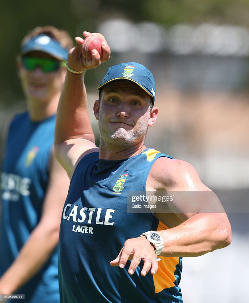 Hardus Viljoen of the Proteas during the South African national cricket team training session at PPC Cement Newlands on January 01, 2016 in Cape Town, South Africa.