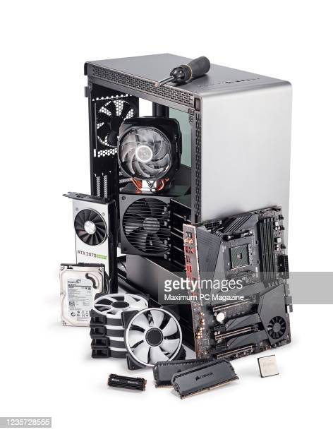 Hardware components including a Thermaltake A500 TG case, MSI MEG X570 Unify motherboard and Fractal Design Prisma fans, taken on January 15, 2020.