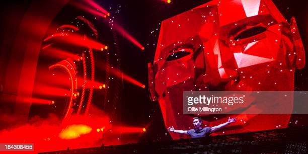 Hardwell performs during a date of the I Am Hardwell tour on stage at Brixton Academy on October 12 2013 in London England