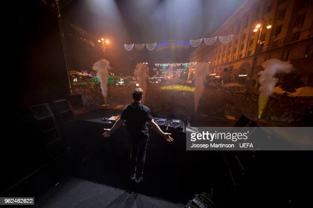 Hardwell performs prior to the UEFA Champions League final between Real Madrid and Liverpool on May 25 2018 in Kiev Ukraine