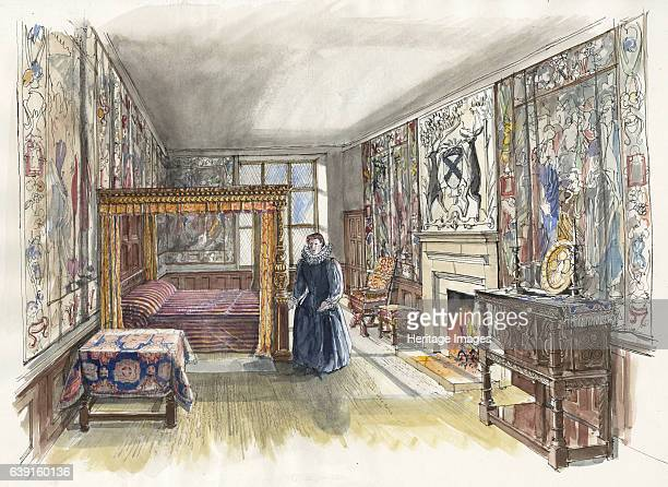 Hardwick Old Hall Best Bedchamber on the 3rd floor of Hardwick Old Hall Derbyshire An Elizabethan country house in England Built between 1590 and...