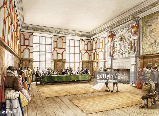 Hardwick Old Hall c1590 Reconstruction drawing showing Bess of Hardwick entertaining in the Great Chamber c1590Hardwick Old Hall Derbyshire was an...
