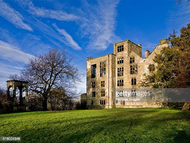 Hardwick Old Hall Derbyshire 2009 View of the south front showing the conduit house on the left Hardwick Old Hall was the home of Bess of Hardwick...