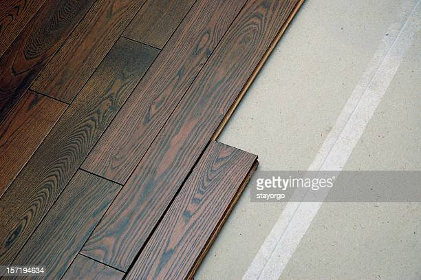 Hardwood floor in the installation process