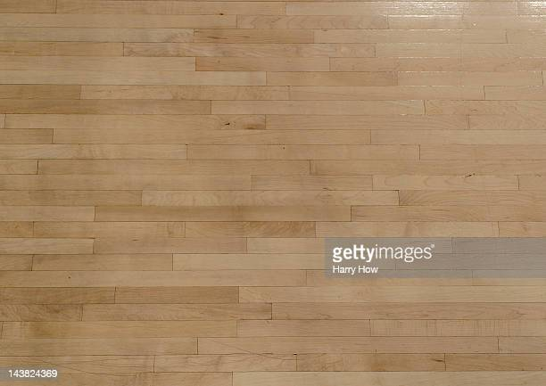 Hardwood floor of the Los Angeles Lakers court before Game Two of the Western Conference Quarterfinals in the 2012 NBA Playoffs at Staples Center on...