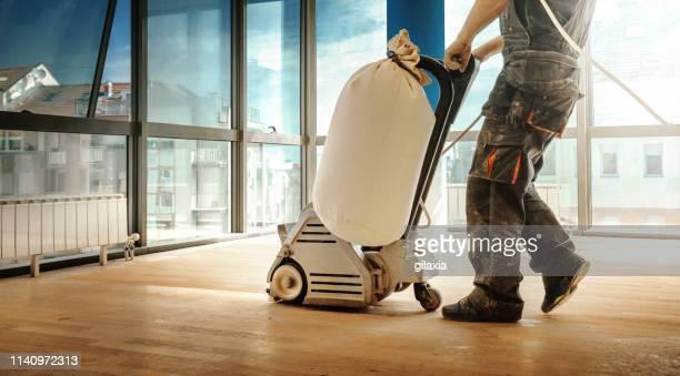 hardwood floor restoring. - flooring stock pictures, royalty-free photos & images