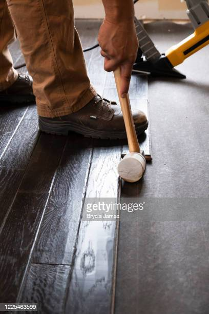 hardwood flooring installation - brycia james stock pictures, royalty-free photos & images