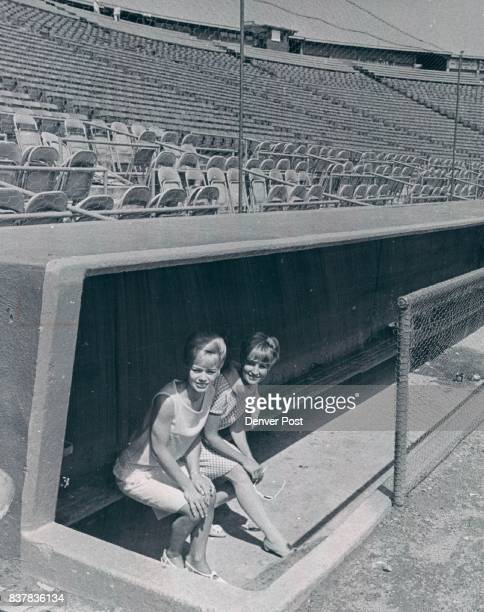 Hardy Carroll Mrs Spts fiel 5p Marianne Hirtz left and Jan Hardy in the Bears' dugout at Bears Stadium Their husbands are Dave Hirtz an infielder and...