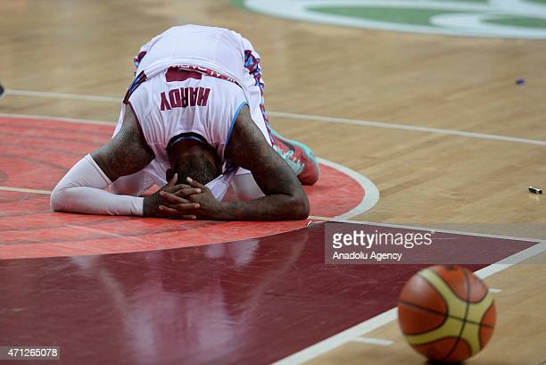 Hardy Dwight of Trabzonspor Medical Park being sad after losing the FIBA EuroChallenge Final Four basketball match between Trabzonspor Medical Park...