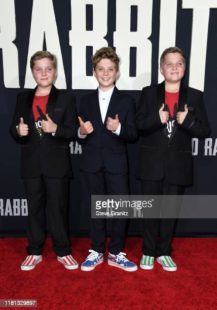 Hardy Griffin Davis Roman Griffin Davis and Gilby Griffin Davis attend the premiere of Fox Searchlights' Jojo Rabbit at Post 43 on October 15 2019 in...