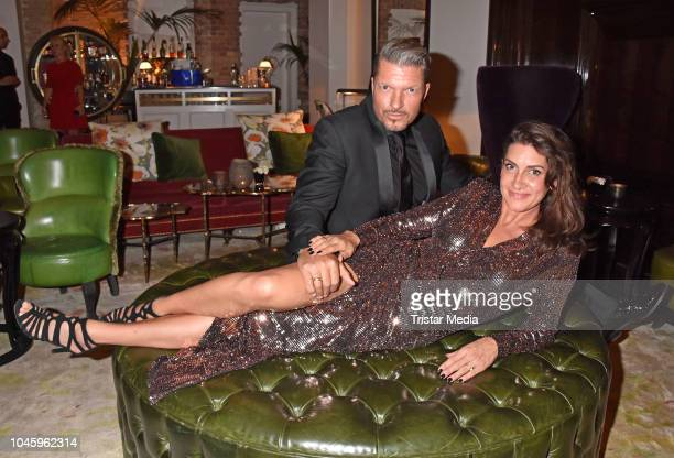 Hardy Krueger Jr and his wife Alice Krueger attend the charity event PLACE TO B Playing for Charity at Restaurant GRACE on October 4 2018 in Berlin...