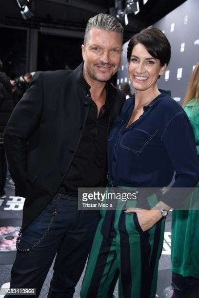 Hardy Krueger Jr and his wife Alice Krueger attend the Riani fashion show during the Berlin Fashion Week Autumn/Winter 2019 at ewerk on January 16...
