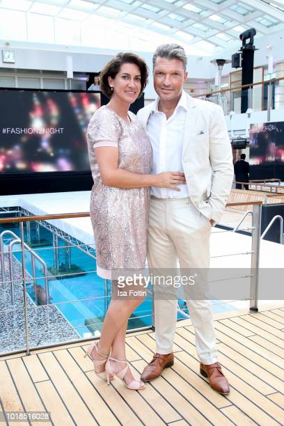Hardy Krueger Jr and his wife Alice Stoesser during the FASHION2NIGHT event on board the EUROPA 2 on August 17 2018 in Hamburg Germany