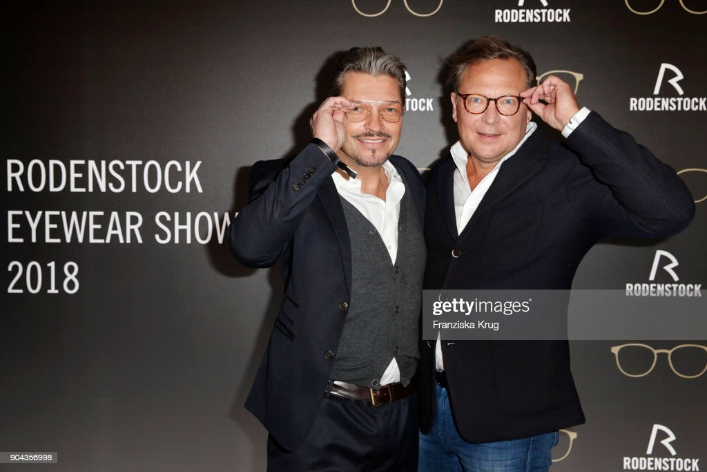 Hardy Krueger Jr. and Oliver Kastalio, CEO Rodenstock during the Rodenstock Eyewear Show on January 12, 2018 in Munich, Germany.