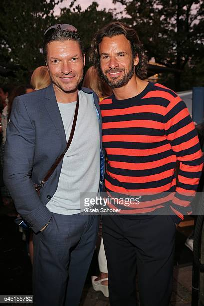 Hardy Krueger jr and Stephan Luca during the Iris von Arnim by Unuetzer launch party of the cashmere sneaker at Bob Beaman Club on July 5 2016 in...