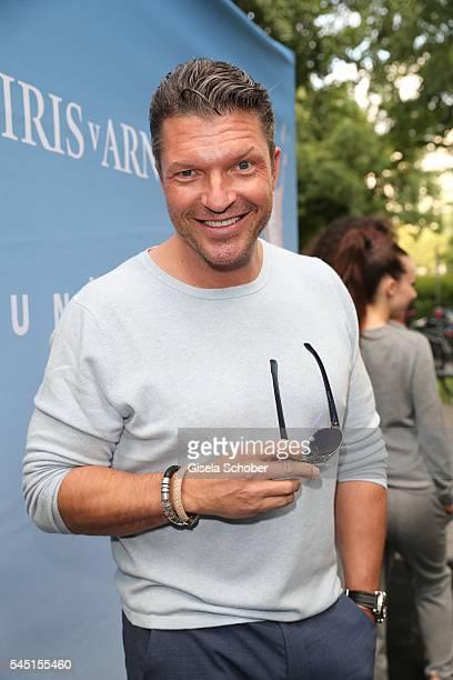 Hardy Krueger jr wearing Iris von Arnim during the Iris von Arnim by Unuetzer launch party of the cashmere sneaker at Bob Beaman Club on July 5 2016...