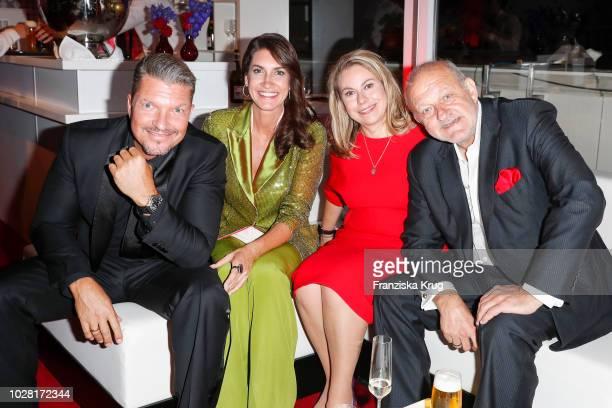 Hardy Krueger jr wife Alice Roessler Maren Muntenbeck and husband Leonard Lansink attend the Bertelsmann Summer Party at Bertelsmann Repraesentanz on...