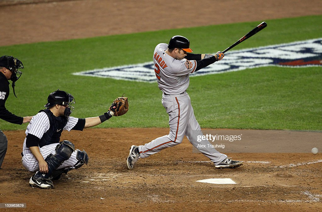 J.J. Hardy #2 of the Baltimore Orioles bats during Game Four of the American League Division Series against the New York Yankees at Yankee Stadium on October 11, 2012 in the Bronx borough of New York City.
