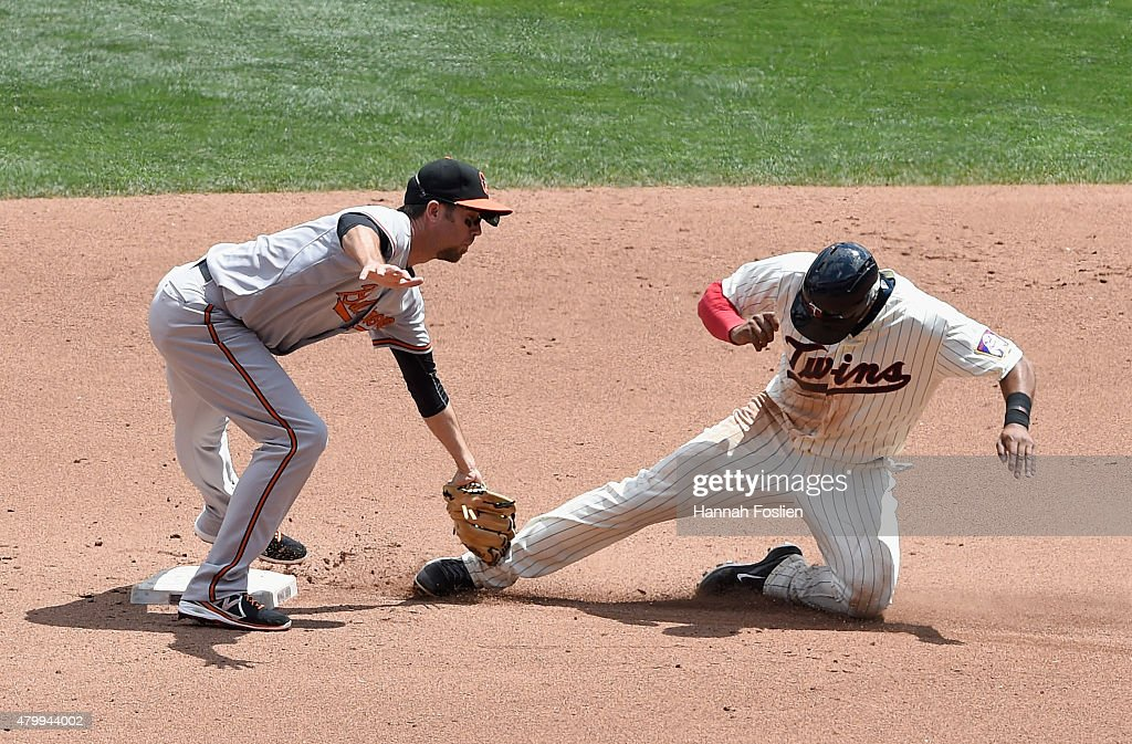 J.J. Hardy #2 of the Baltimore Orioles catches Aaron Hicks #32 of the Minnesota Twins stealing second base during the fourth inning of the game on July 8, 2015 at Target Field in Minneapolis, Minnesota. The Twins defeated the Orioles 5-3.