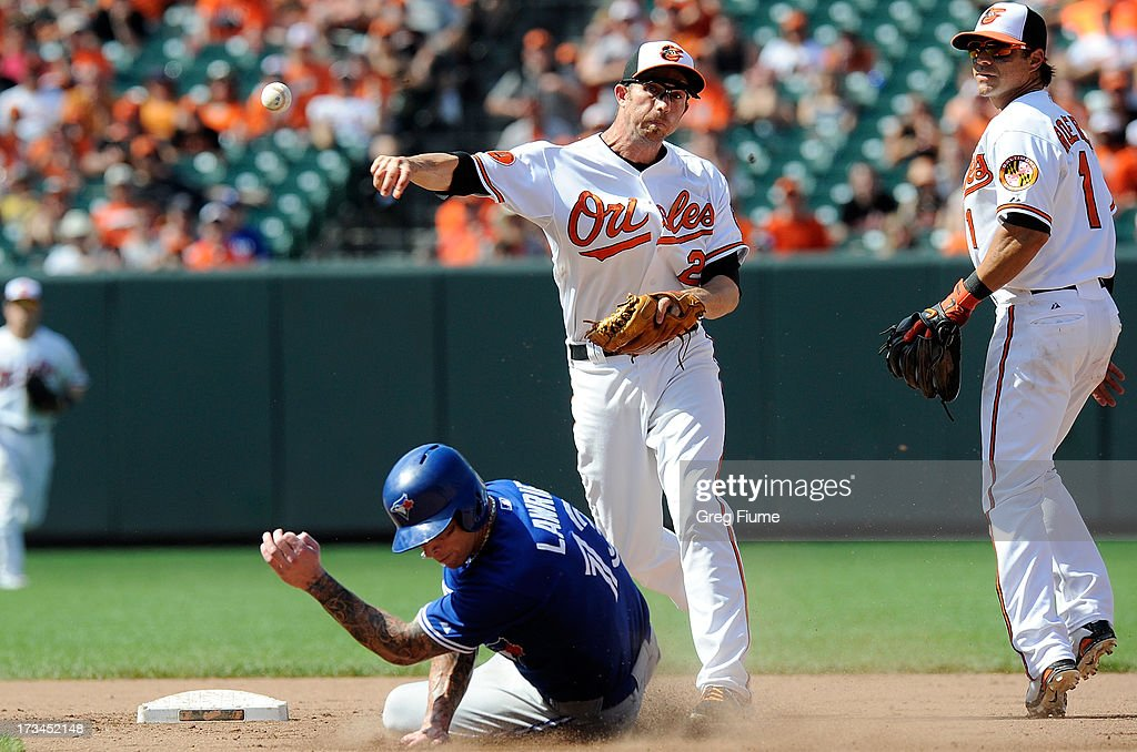 J.J. Hardy #2 of the Baltimore Orioles forces out Brett Lawrie #13 of the Toronto Blue Jays at second base in the ninth inning at Oriole Park at Camden Yards on July 14, 2013 in Baltimore, Maryland.