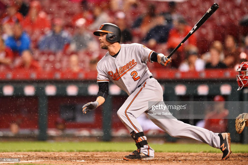 J.J. Hardy #2 of the Baltimore Orioles hits an RBI single for the game winning run in the 10th inning against the Cincinnati Reds at Great American Ball Park on April 20, 2017 in Cincinnati, Ohio. Baltimore defeated Cincinnati 2-1.