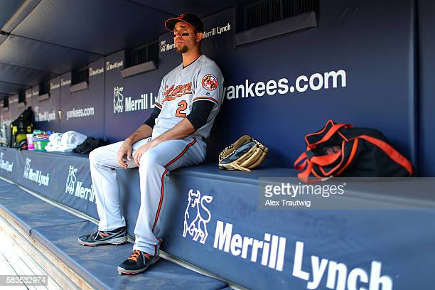 Hardy of the Baltimore Orioles sits in the dugout prior to the game against the New York Yankees at Yankee Stadium on Thursday, July 21, 2016 in the...