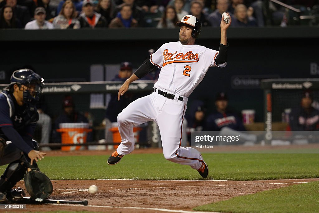J.J. Hardy #2 of the Baltimore Orioles slides into home plate scoring a run as catcher Kurt Suzuki #8 of the Minnesota Twins waits for the ball in the second inning at Oriole Park at Camden Yards on April 6, 2016 in Baltimore, Maryland.