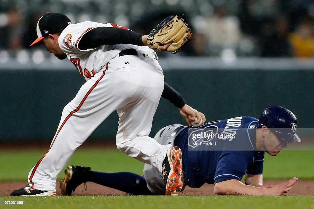 J.J. Hardy #2 of the Baltimore Orioles tags out Peter Bourjos #18 of the Tampa Bay Rays for the first out of the third inning at Oriole Park at Camden Yards on April 25, 2017 in Baltimore, Maryland.