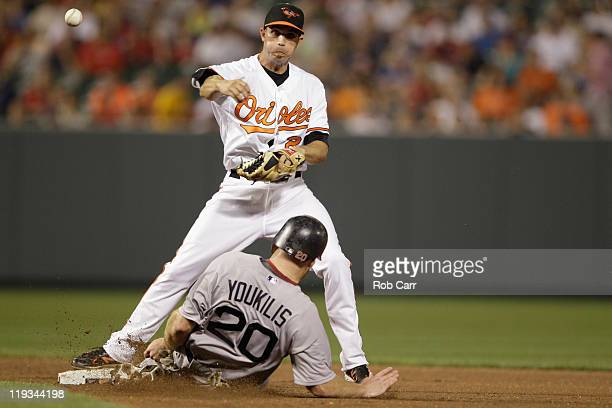 J Hardy of the Baltimore Orioles throws to first base after forcing out Kevin Youkilis of the Boston Red Sox at second base during the seventh innin...